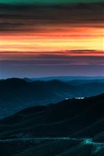 Por do sol, montanhas, estrada, Crepúsculo