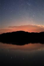 Atardecer, estrellado, lago, reflexión sobre el agua, noche