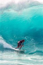 Preview iPhone wallpaper Surfing, sea, waves, water splash