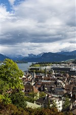 Switzerland, Lucerne, city, houses, river, mountains, clouds, trees