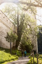 Preview iPhone wallpaper Switzerland, Luzern, path, trees, wall, sunshine