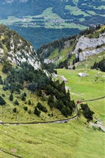 Preview iPhone wallpaper Switzerland, Pilatus, mountains, slope, trees, train, railway