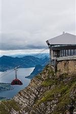 Switzerland, Pilatus, vista superior, cidade, montanhas, teleférico