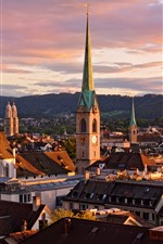 Preview iPhone wallpaper Switzerland, Zurich, cityscape, houses, mountains, clouds, dusk