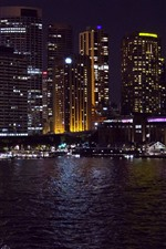 Preview iPhone wallpaper Sydney, Australia, night, city, buildings, bay