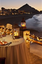 Preview iPhone wallpaper Tables, candles, dinner, coast, sea, night
