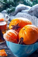 Preview iPhone wallpaper Tangerines, bowl, tea
