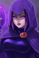 Preview iPhone wallpaper Teen Titans, purple hair girl, DC Comics