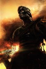 Terminator, robot, arma, nubes