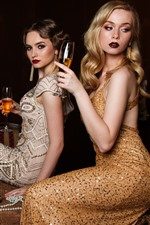 Preview iPhone wallpaper Three fashion girls, wine