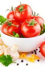 Preview iPhone wallpaper Tomatoes, bowl, mushroom, white background