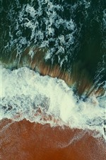 Preview iPhone wallpaper Top view the beach, sea, waves, foam