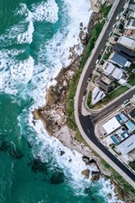 Preview iPhone wallpaper Top view the city, coast, street, houses, drone photography