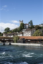 Preview iPhone wallpaper Travel to Switzerland, Lucerne, river, bridge, houses, city