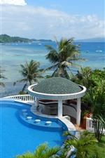 Preview iPhone wallpaper Tropical, resort, sea, gazebo, palm trees, pool