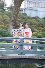 Preview iPhone wallpaper Two Japanese girl, smile, kimono, bridge