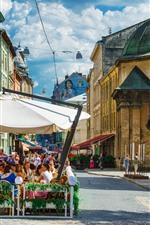 Ucrânia, rua, café, pessoas