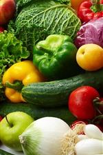 미리보기 iPhone 배경 화면 야채와 과일, 양배추, 고추, 토마토, 사과, 복숭아