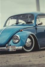 미리보기 iPhone 배경 화면 폭스 바겐 비틀 1972 파란 차
