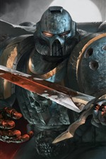 Preview iPhone wallpaper Warhammer 40000, warrior, armor, sword