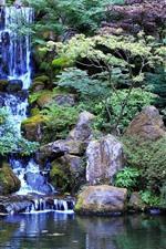 Waterfall, rocks, park