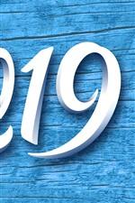 Aperçu iPhone fond d'écranBlanc 2019, Nouvel An, fond bleu
