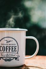 White cup, coffee, steam