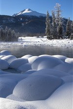 Preview iPhone wallpaper White snow, winter, trees, fog, lake, Kanas, China