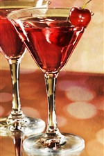 Preview iPhone wallpaper Wine, glass cups, cherry