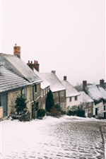Preview iPhone wallpaper Winter, snow, town, road, houses, slope