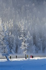 Preview iPhone wallpaper Winter, thick snow, trees, people, Kanas, China