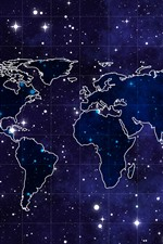 World Map, starry, space