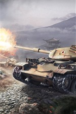 Preview iPhone wallpaper World of Tanks, fight, war, hot game