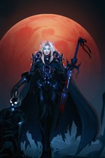 Preview iPhone wallpaper World of Warcraft, WOW, girl, sword, moon