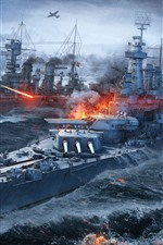 Preview iPhone wallpaper World of Warships, battle, sea, ships