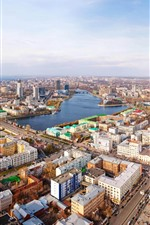 Preview iPhone wallpaper Yekaterinburg, city, street, river, houses, Russia