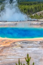 Preview iPhone wallpaper Yellowstone National Park, USA, lake, steam, trees, people