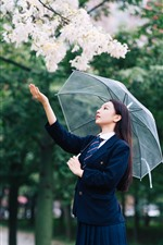 Preview iPhone wallpaper Young Chinese girl, long hair, umbrella, flowers