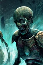 Preview iPhone wallpaper Zombies, skull, warrior, art picture