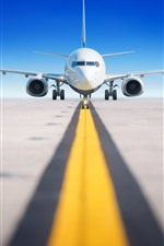 Preview iPhone wallpaper Airport, passenger airplane, runway, front view