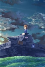 Anime girl and tank, clouds