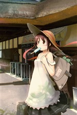 Preview iPhone wallpaper Anime girl, railway station