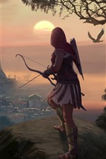 Preview iPhone wallpaper Assassin's Creed: Odyssey, girl, archer, Greece, art picture