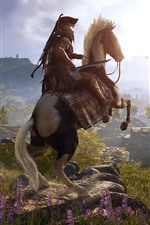 Preview iPhone wallpaper Assassin's Creed: Odyssey, horse, village