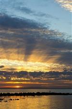 Australia, Queensland, sea, sunset, sky, clouds