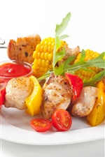 Preview iPhone wallpaper BBQ, kebabs, corn, tomato, white background