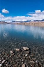Baisha Lake, Xinjiang, mountains, clouds, stones, China