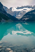 Preview iPhone wallpaper Banff National Park, lake, clear water, mountains, stones, Canada