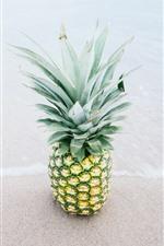 Preview iPhone wallpaper Beach, sea, pineapple, fruit