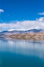 Preview iPhone wallpaper Beautiful Baisha Lake in Xinjiang, clear water, mountains, clouds, China